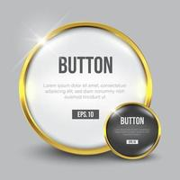 Circle glossy white, gold web button set vector