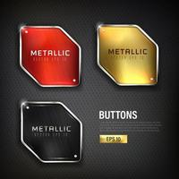 Steel web buttons set on black vector