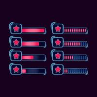 set of gui fantasy rpg star progress bar for game ui asset elements vector illustration