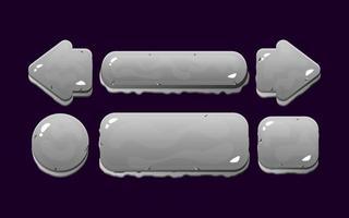 set of game ui rock button kit for gui asset elements vector illustration