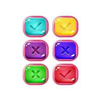 set of colorful jelly game ui with pinky border for gui asset elements vector illustration
