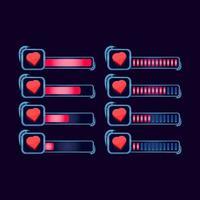 set of gui fantasy rpg health life progress bar for game ui asset elements vector illustration