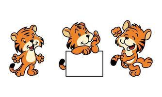 lindo conjunto de personajes de dibujos animados de tigre vector