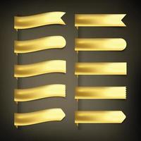 Ribbon basic set in gold vector