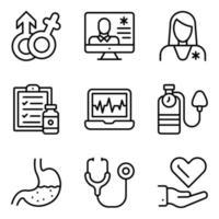 paquete de iconos lineales de medicación en línea vector