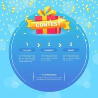 giveaway template for social media post vector