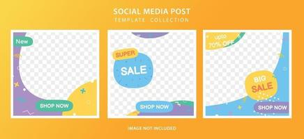 Set of social media post template for special offer and discount vector