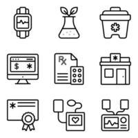 paquete de iconos lineales médicos y farmacéuticos