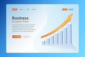 Landing page for websites, business growth plan sample landing page vector