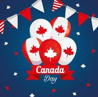 happy canada day with balloons vector