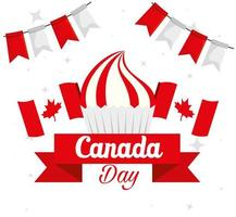 happy canada day with cupcake and decoration vector
