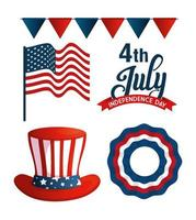 bundle of independence usa icons vector