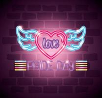 pride day neon light with heart and wings vector