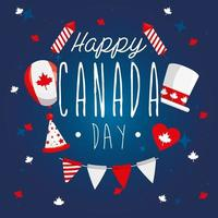 happy canada day with decorations vector