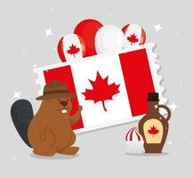happy canada day with beaver and decoration vector