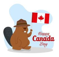 happy canada day with beaver and flag vector
