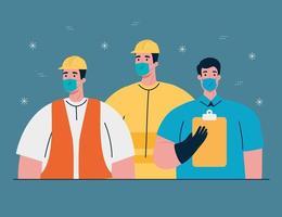 Trabajadores de la construcción con mascarillas sobre la pandemia de coronavirus vector