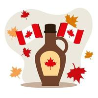 happy canada day with maple syrup and decoration vector