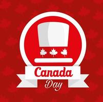 happy canada day with top hat and decoration vector