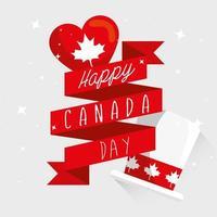 feliz día de canadá con cinta y decoración vector