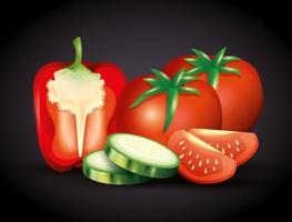 fresh red pepper with tomatoes and sliced cucumber, organic vegetables vector