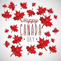 happy canada day with maple leaves decoration vector