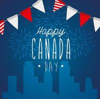 happy canada day with cityscape and garlands hanging vector