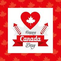happy canada day and heart with maple leaf decoration vector