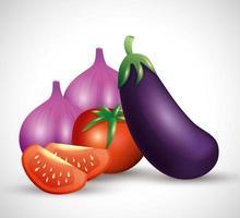 fresh organic vegetables, healthy food, healthy lifestyle or diet vector