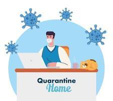 prevención del coronavirus en la oficina en casa con hombre trabajando vector