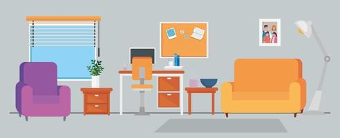 Home office interior background vector