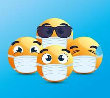 Emojis wearing face masks vector