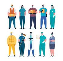 Essential workers with face masks on coronavirus pandemic vector