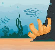 underwater background with coral reef and algae vector