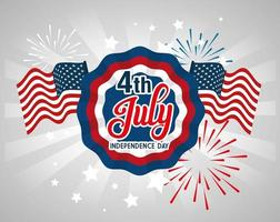4 of july happy independence day lace emblem vector
