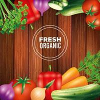 Verduras orgánicas frescas, comida sana, estilo de vida saludable o dieta sobre fondo de madera vector