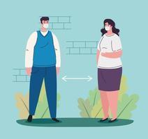 social distancing concept between people vector