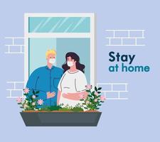 Couple at home for coronavirus quarantine vector