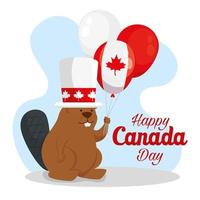 happy canada day with beaver and balloons vector