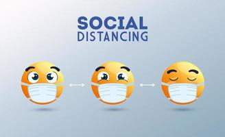 Social distancing banner with emojis wearing face masks vector