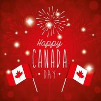 happy canada day with flags and fireworks vector
