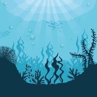 underwater background with algae and seaweeds vector