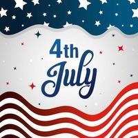 4 de julio feliz día de la independencia con decoración de bandera vector