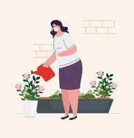Woman watering plants at home for coronavirus quarantine vector