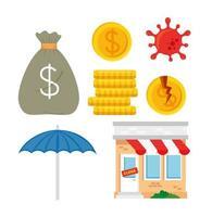 bankruptcy icon set vector