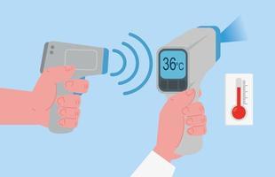 digital infrared thermometer for coronavirus pandemic vector