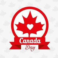happy canada day with maple leaf decoration vector