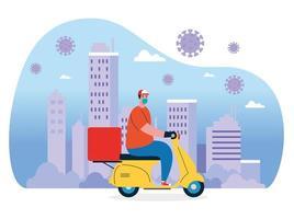 Entrega de bienes durante la prevención del coronavirus, mensajero con mascarilla en motocicleta vector