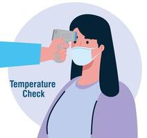 Temperature check with digital infrared thermometer for coronavirus pandemic vector