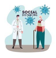 Social distancing concept against coronavirus vector